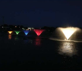 Kasco VFX aerating fountains can be equipped with various lights