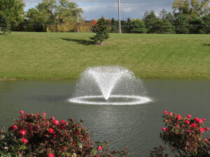The 600gpm NorthStar aerating pond fountain by Scott Aerator emits a V-shaped display